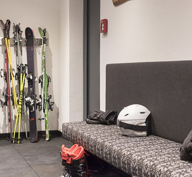 Modern ski cellar with ski boot heating provides comfort in Apart Alpenleben in St. Anton am Arlberg.